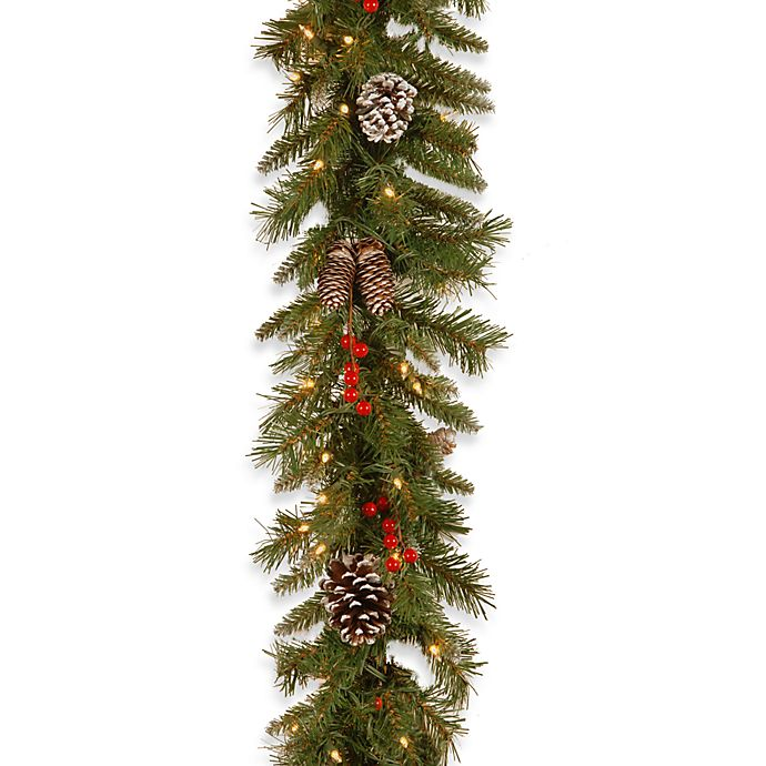 Alternate image 1 for National Tree Company 9-Foot x 10-Inch Frosted Berry Garland Pre-Lit with 100 Clear Lights