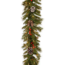 National Tree Company 9-Foot x 10-Inch Frosted Berry Garland Pre-Lit with 100 Clear Lights