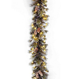 National Tree Company 9-Foot Glitter Pine Pre-Lit Garland with Clear Lights