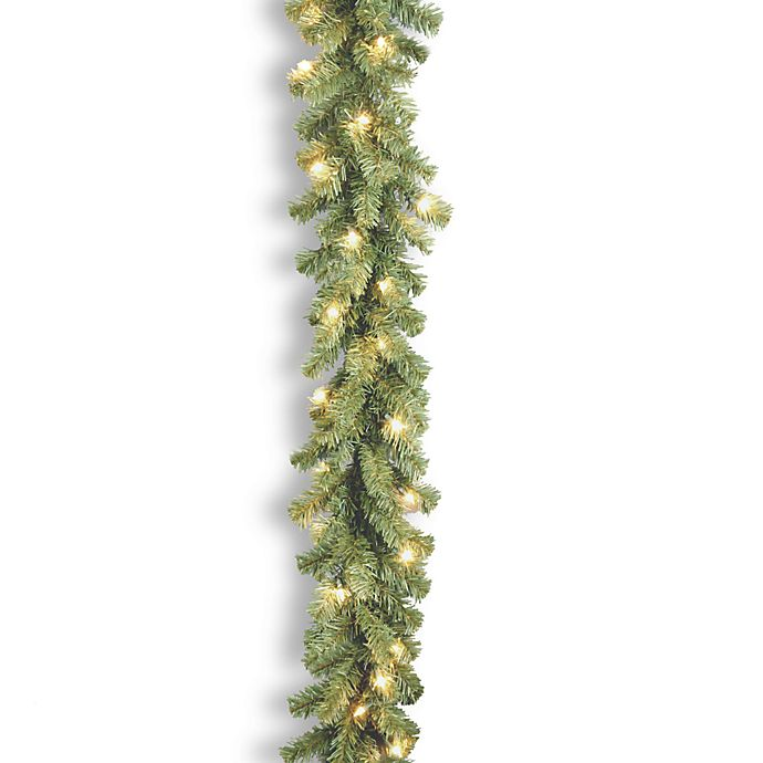 Alternate image 1 for National Tree Company 9-Foot Kincaid Spruce Pre-Lit Garland with Clear Lights
