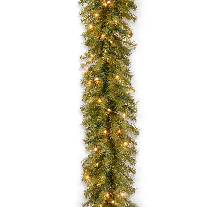 Alternate image 1 for National Tree Company 9-Foot 10-Inch Pre-Lit Norwood Fir Garland with Clear Lights
