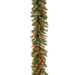 National Tree Company 9-Foot 12-Inch Pre-Lit Norwood Fir Garland with Multicolor Lights