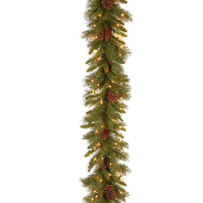 Alternate image 1 for National Tree Company 9-Foot Pine Cone Pre-Lit Garland with Clear Lights