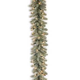 National Tree Company 9-Foot Feel-Real Down Swept Pre-Lit Douglas Blu Fir Garland w/Clear Lights