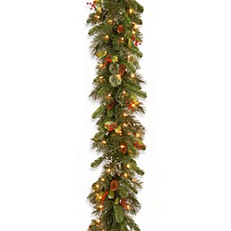 National Tree Company Wintry Pine Pre-Lit Garland with Clear Lights