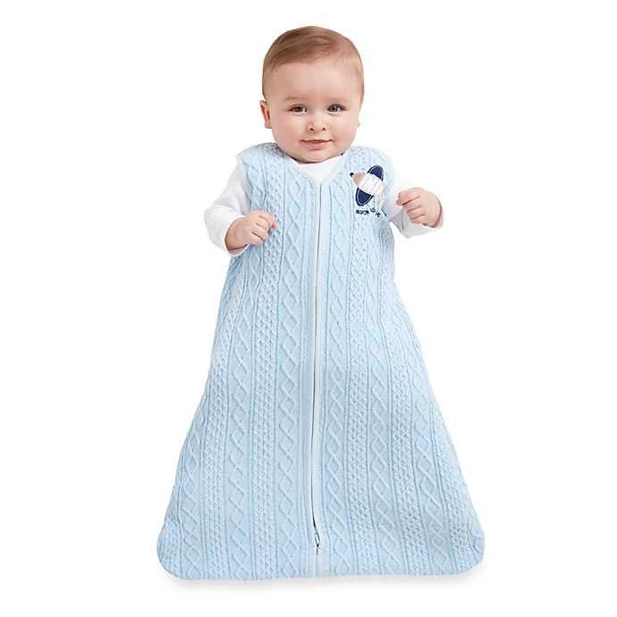 Alternate image 1 for HALO® SleepSack® Cable Knit Wearable Blanket in Blue