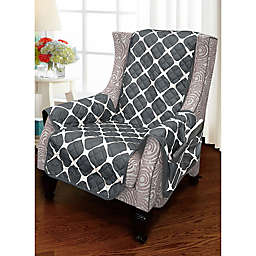 Bloomingdale Wing Chair Protector in Black/Grey