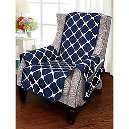 Bloomingdale Wing Chair Protector in Navy/Grey