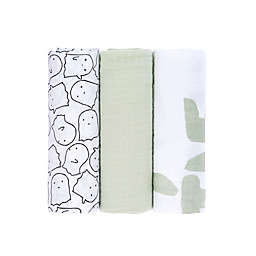 Lassig 3-Pack Little Spookies Swaddle Blankets in Olive