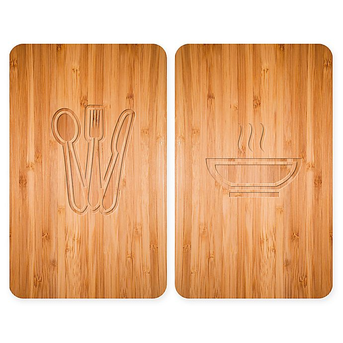 Alternate image 1 for Wenko® Lunch 2-Piece 11.81-Inch x 20.47-Inch Glass Stove Cover Cutting Board Set