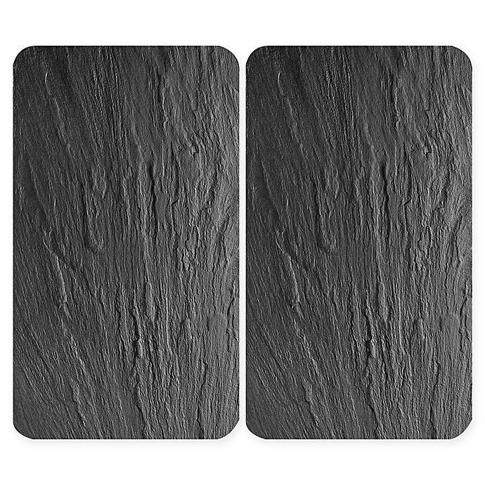 Alternate image 1 for Wenko® Slate 2-Piece 11.81-Inch x 20.47-Inch Glass Stove Cover Cutting Board Set