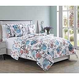 VCNY Home 5-Piece Eiffel Quilt Set in Pink/Blue