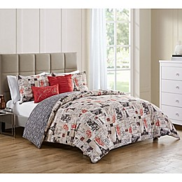 VCNY Home 5-Piece Duvet Cover Set in Red/Ivory