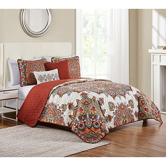 Alternate image 1 for VCNY Home 5-Piece Tamara Quilt Set in Orange
