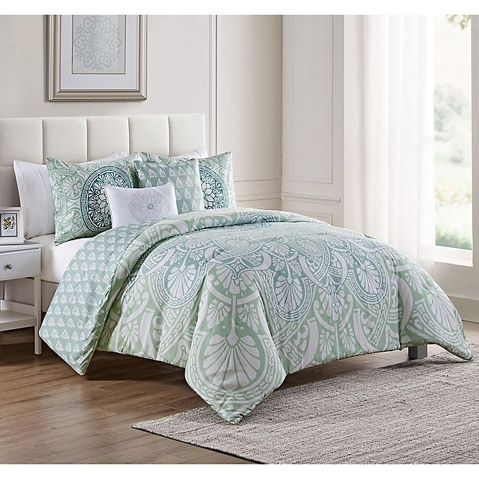 Alternate image 1 for VCNY Home Taconic 5-Piece Reversible Queen Comforter Set in Blue/White