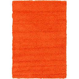 Unique Loom Solid Shag 4' x 6' Area Rug in Tiger Orange