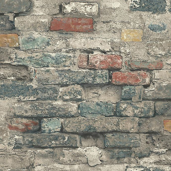 Alternate image 1 for RoomMates® Peel & Stick Brick Alley Wallpaper in Teal