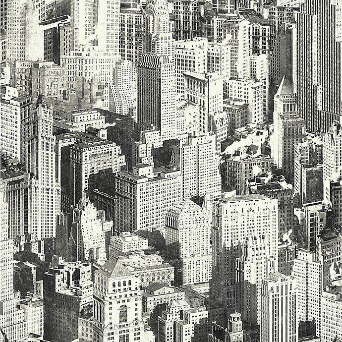 Roommates Peel Stick New York City Wallpaper In Black