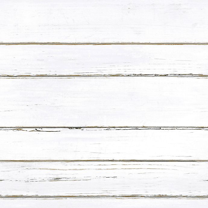 Roommates® Peel & Stick Shiplap Wallpaper in White | Bed