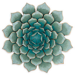 Ridge Road Décor Floral & Botanical 23-Inch Square Metal Wall Art in Teal