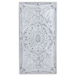 Ridge Road Décor 19-Inch x 37-Inch Traditional Floral and Scroll Wall Art in White