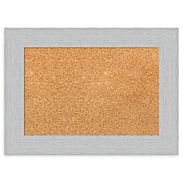 Amanti Art Framed Cork Board in Shiplap White