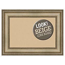 Amanti Art Beige Framed Cork Board in Mezzanine Silver