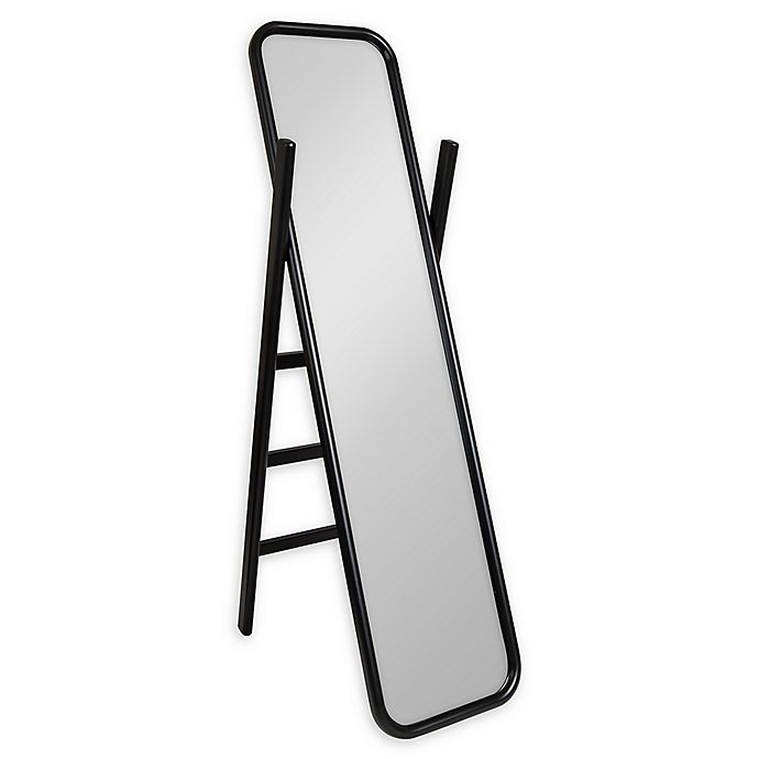 Alternate image 1 for Kate and Laurel Loki Ladder 16-Inch x 58-Inch Floor Mirror in Black