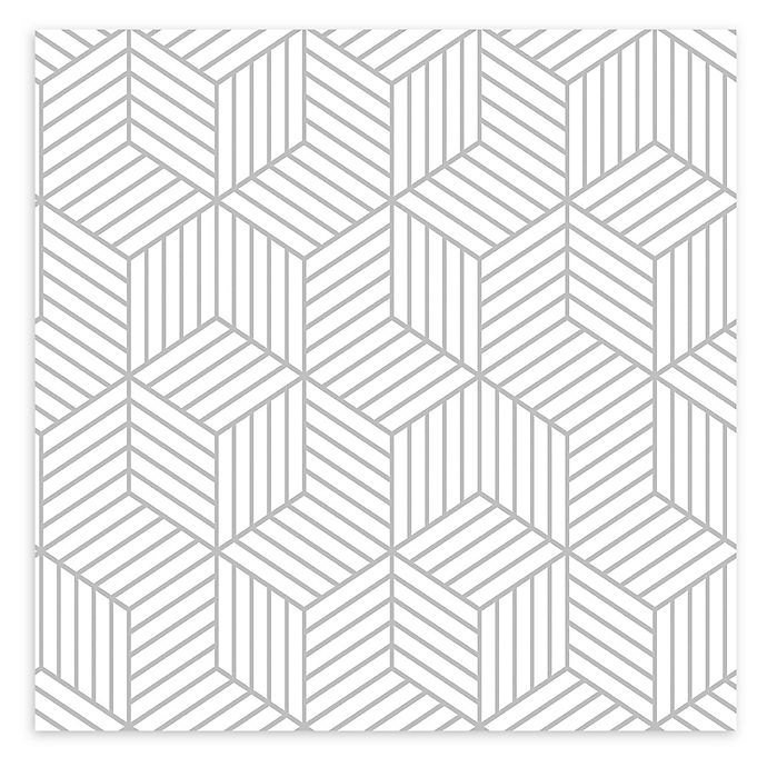 Alternate image 1 for Roommates® Striped Hexagon Peel and Stick Wallpaper in White/Gold