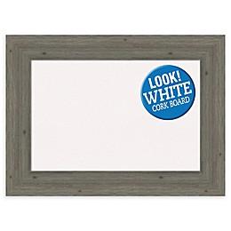 Amanti Art Framed White Cork Board in Fencepost Grey