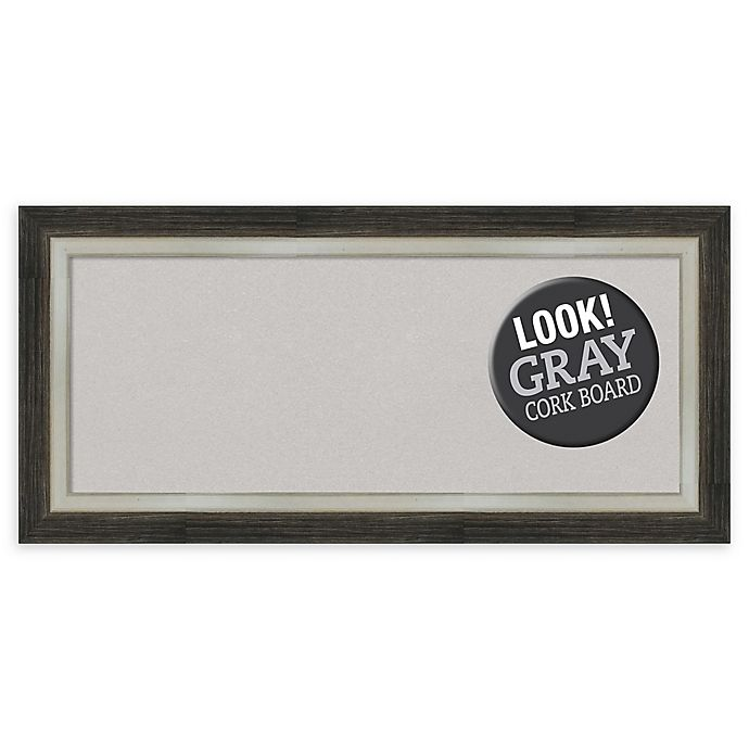 Alternate image 1 for Amanti Art® Panel Framed Grey Cork Board in Metallic Silver/Brown