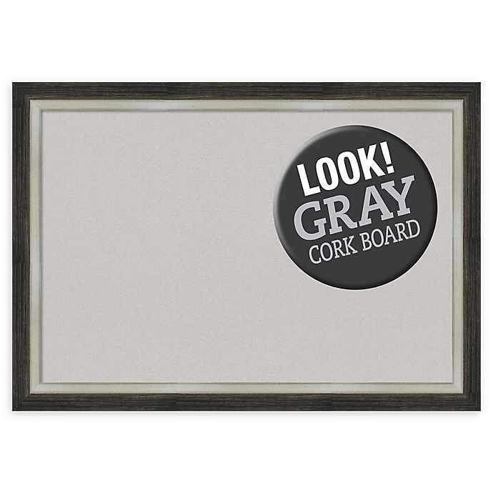 Alternate image 1 for Amanti Art® Extra-Large Framed Grey Cork Board in Metallic Silver/Brown