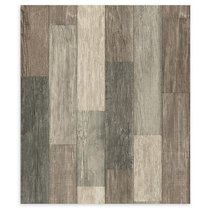 Alternate image 1 for RoomMates® Weathered Wooden Planks Peel & Stick Wallpaper in Brown