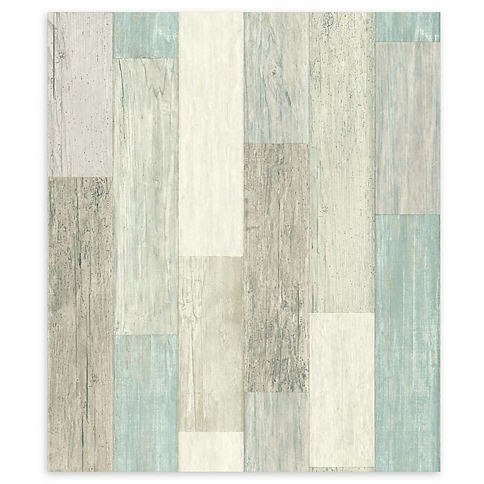 Alternate image 1 for RoomMates® Weathered Wooden Planks Peel & Stick Wallpaper in Blue