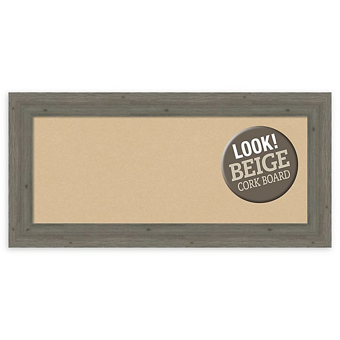 Alternate image 1 for Amanti Art Panel Beige Cork Board with Frame in Fencepost Grey