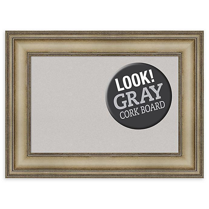 Alternate image 1 for Amanti Art Small Grey Cork Board with Mezzanine Frame in Silver