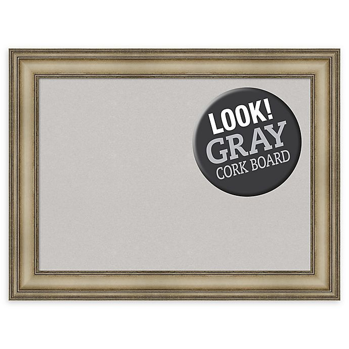 Alternate image 1 for Amanti Art Large Grey Cork Board with Mezzanine Frame in Silver