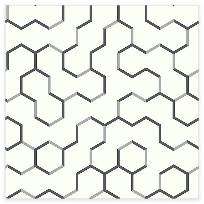 Alternate image 1 for RoomMates® Open Geometric Peel & Stick Wallpaper in Grey
