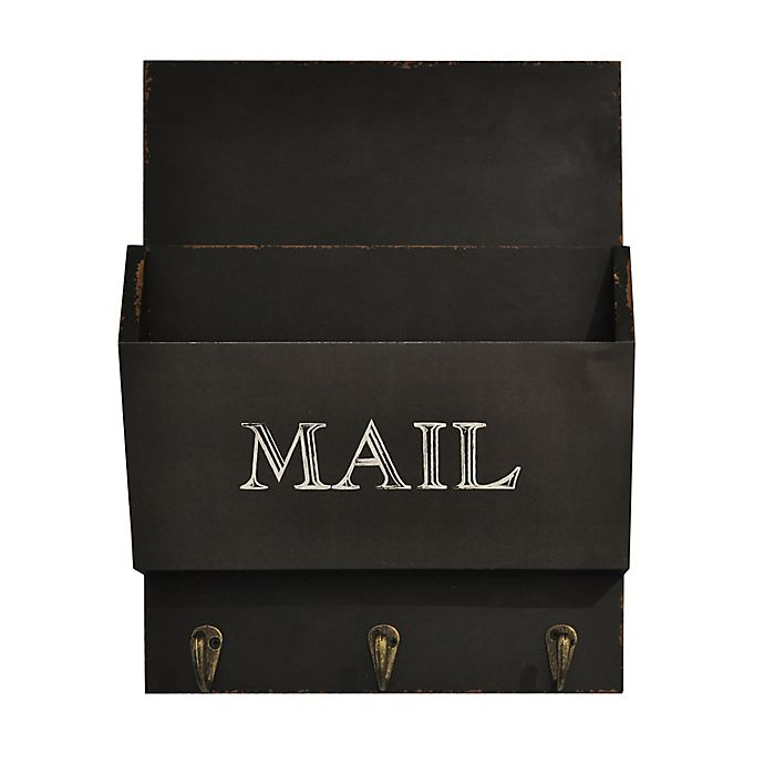 Alternate image 1 for Wall Mail Bin With Hooks