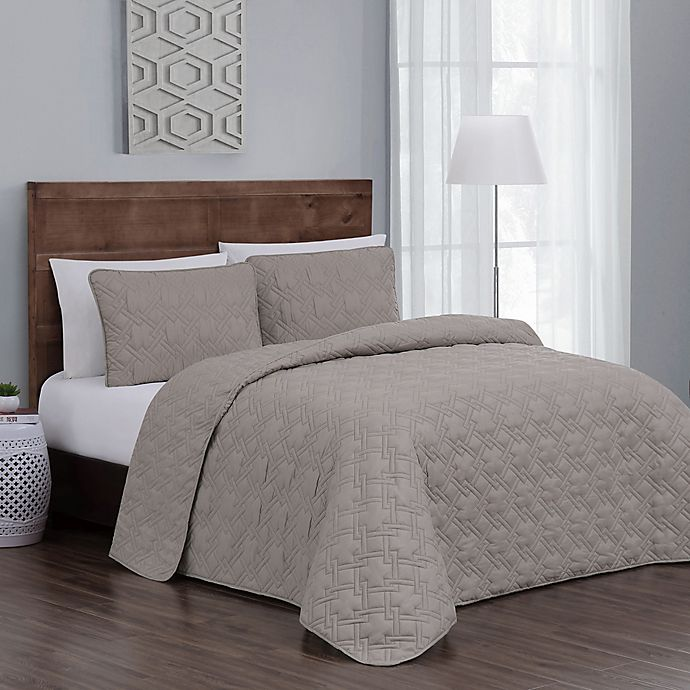 Alternate image 1 for Jess Reversible King Quilt Set in Taupe