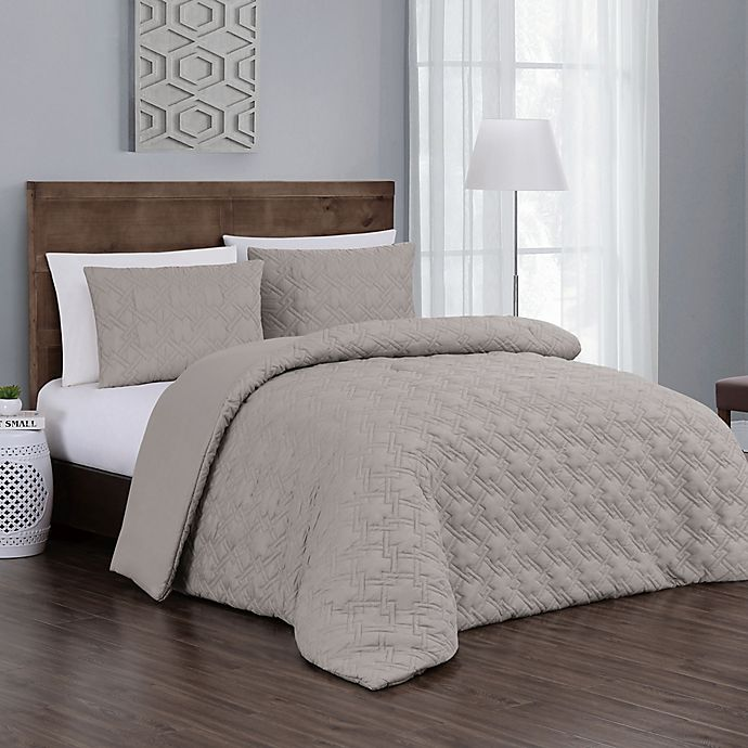 Alternate image 1 for Jess 3-Piece Reversible Queen Comforter Set in Taupe