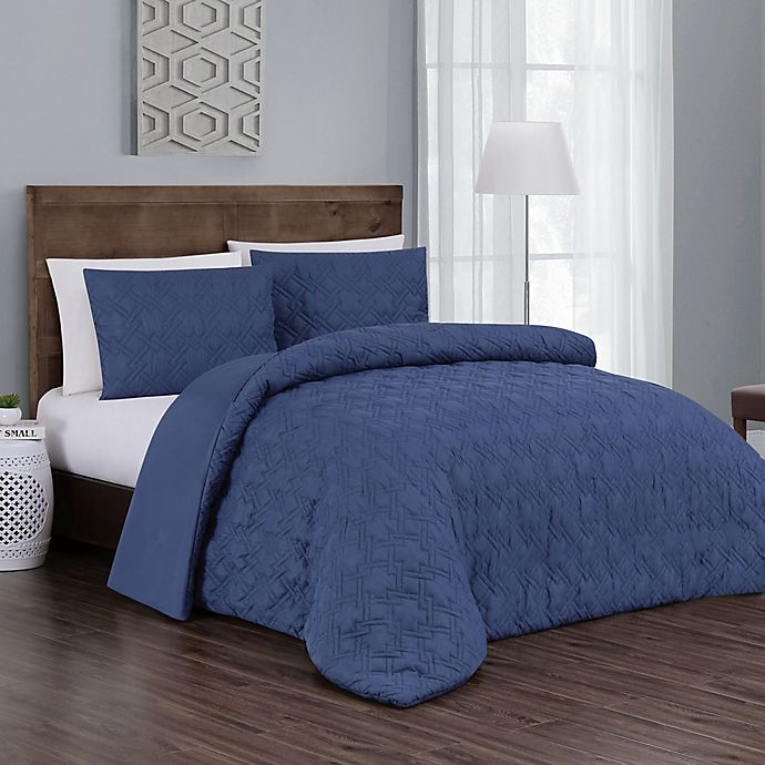 Alternate image 1 for Jess 3-Piece Reversible Queen Comforter Set in Navy