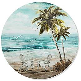 Beach Chair Scene 27.56-Inch Round Canvas Wall Art