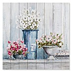 Bouquets on a Farmhouse Table 30-Inch Square Wood Wall Art