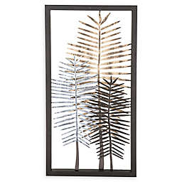 Modern Iron Framed Leaves Wall Art in Black