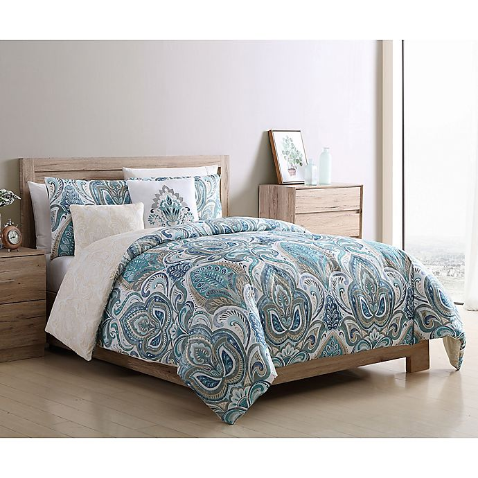 Alternate image 1 for VCNY Home Eloise Reversible 5-Piece Full/Queen Comforter Set in Blue