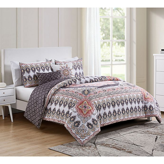 Alternate image 1 for VCNY Home Valeria Reversible 5-Piece Full/Queen Comforter Set in Blush Pink