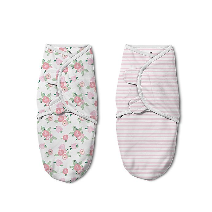 Alternate image 1 for SwaddleMe® Luxe Original Floral Watercolor Small/Medium 2-Pack Cotton Swaddles in Pink