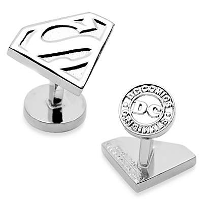 DC Comics Silver-Plated Superman Shield Cufflinks