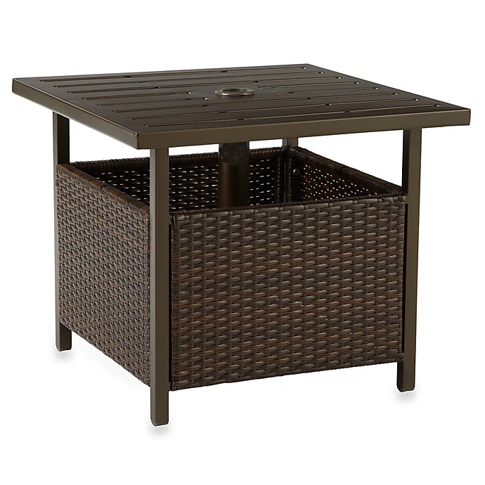 Wicker Umbrella Side Table In Bronze Bed Bath Amp Beyond